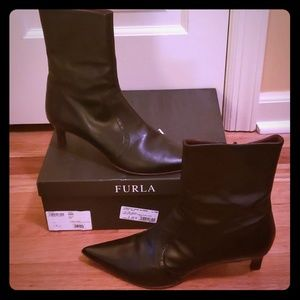 Furla Shoes - EUC Furla Ambre Vitello Onyx Black Boots Size 38.5